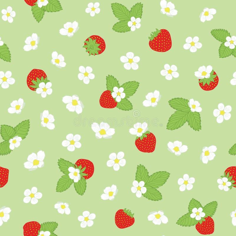 传染媒介春天花卉开花和草莓重复 皇族释放例证