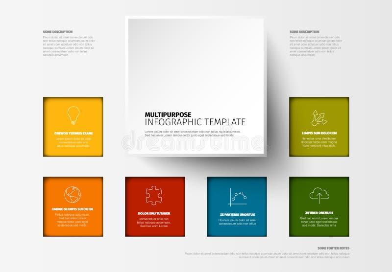 传染媒介最低纲领派五颜六色的Infographic模板 库存例证