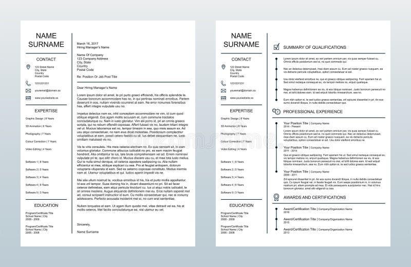 传染媒介最低纲领派创造性的说明附件和一块页Resume/CV模板在白色背景 皇族释放例证