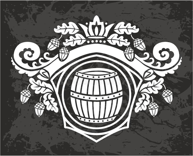 传染媒介木桶 在被刻记的样式的手拉的葡萄酒例证 库存图片