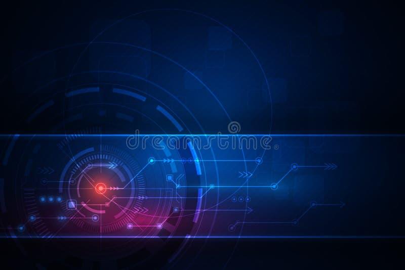传染媒介未来派摘要的技术 高科技电路板,与深蓝颜色的例证高电脑技术 库存例证