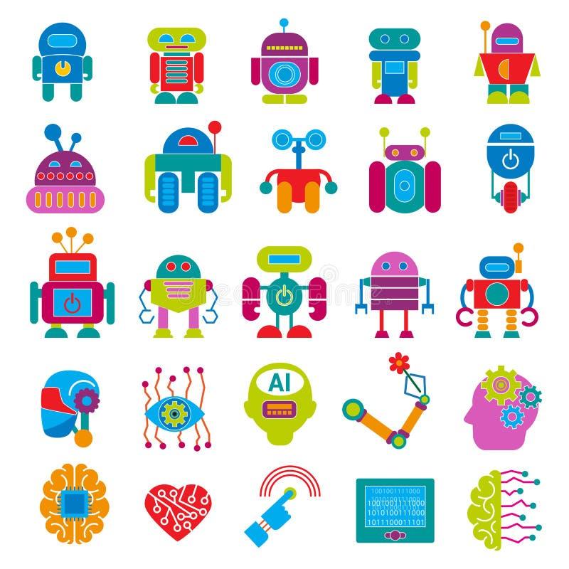 传染媒介机器人技术设计未来派孩子平的小儿童靠机械装置维持生命的人机器人字符型计算机科学未来 向量例证