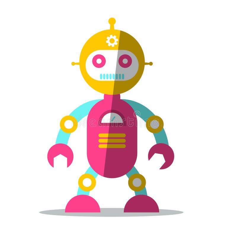 传染媒介机器人标志 平的设计象隔绝了 向量例证