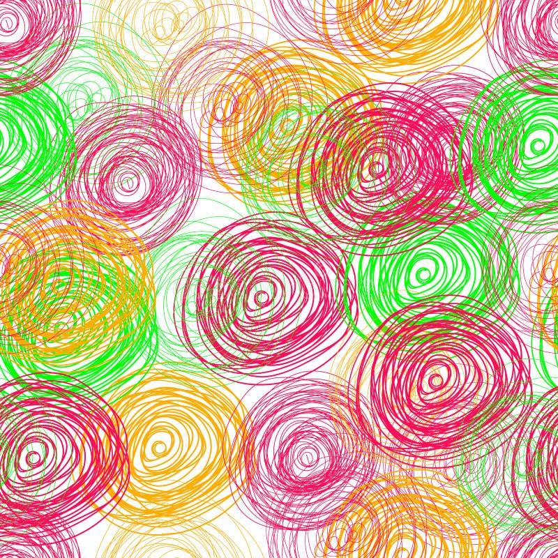 传染媒介杂文盘旋五颜六色的无缝的样式,背景,明亮的颜色 向量例证