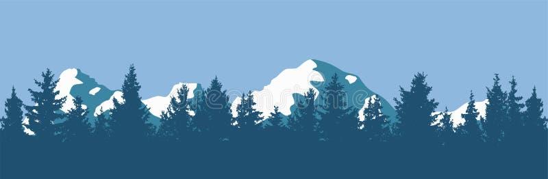 传染媒介杉木森林和山剪影 向量例证
