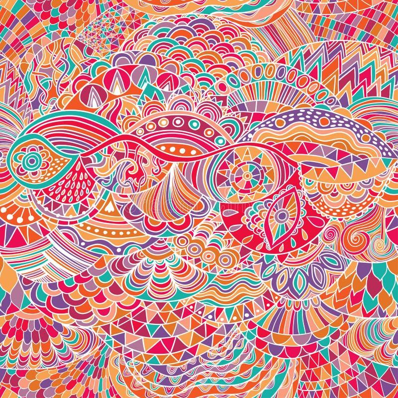 传染媒介样式与五颜六色的装饰品的摘要背景 手凹道例证,彩图zentangle 海藻海 皇族释放例证