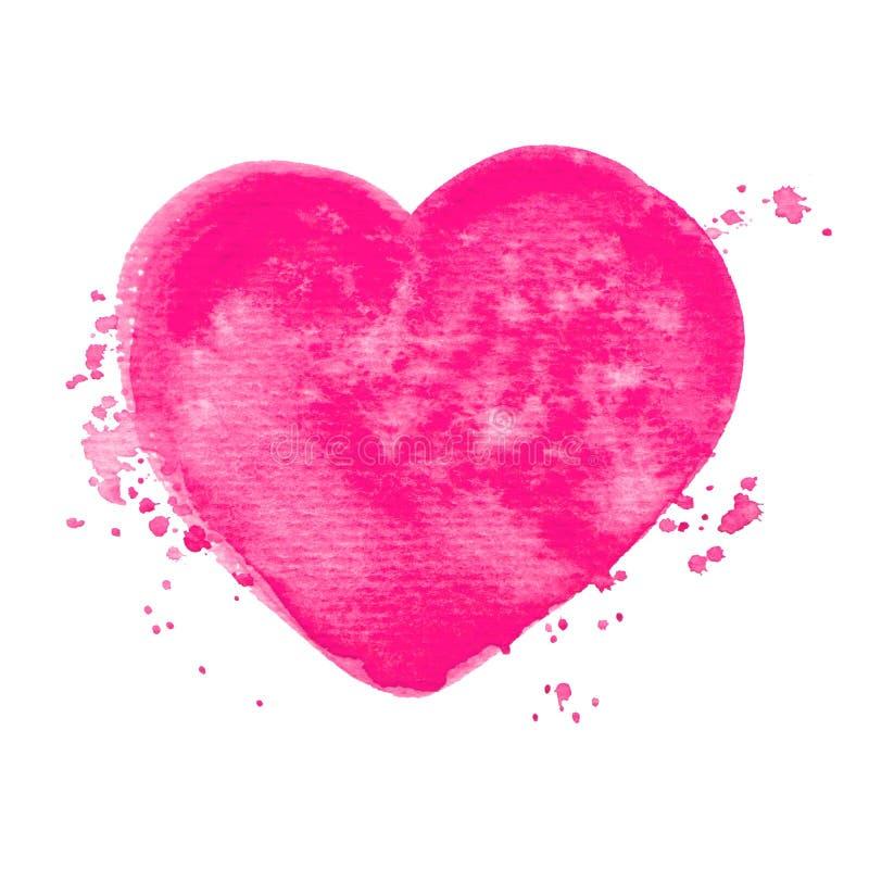 传染媒介桃红色心脏水彩在您的设计的白色隔绝的油漆纹理 库存例证