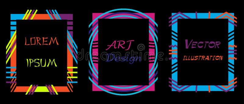 传染媒介框架行家的艺术图表 动态框架时髦的几何黑背景 设计名片的元素, inv 向量例证
