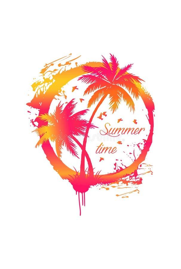 传染媒介梯度黄色桃红色橙色难看的东西隔绝了在太阳圈子的棕榈树 ?? r 库存例证
