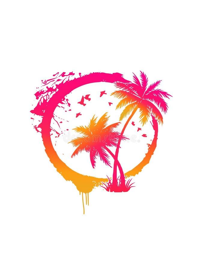 传染媒介梯度黄色桃红色橙色难看的东西隔绝了在太阳圈子的棕榈树 r 库存例证