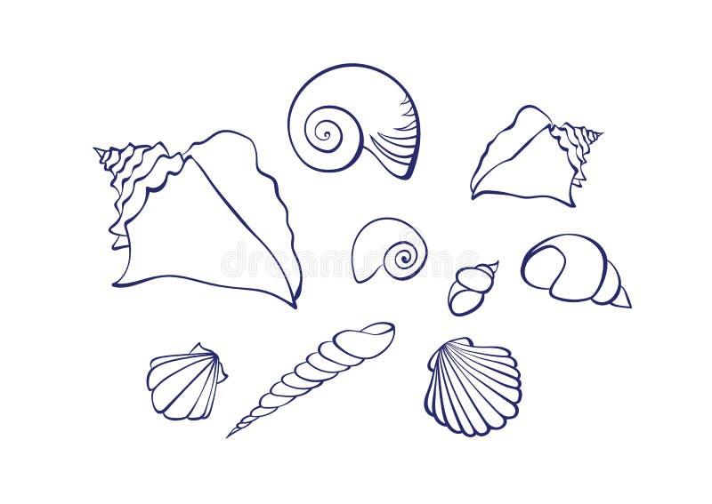 传染媒介概述动画片贝壳集合 在彩图的白色背景隔绝的图表海洋例证 向量例证