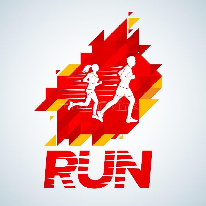 传染媒介模板红色上色了跑人设计,横幅,网的情感小条 跑俱乐部商标模板 E 皇族释放例证