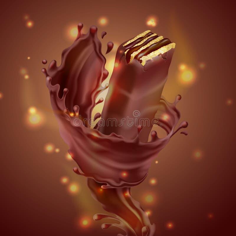 传染媒介横幅用巧克力奶蛋烘饼和飞溅 库存例证