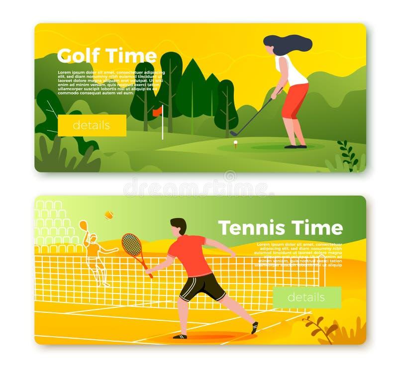 传染媒介横幅设置与网球人和高尔夫球女孩 向量例证