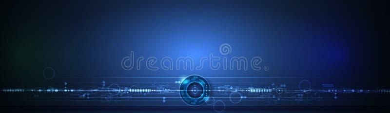 传染媒介横幅设计有圈子的电路板 例证摘要现代未来派,工程学,技术backgrouืก 向量例证
