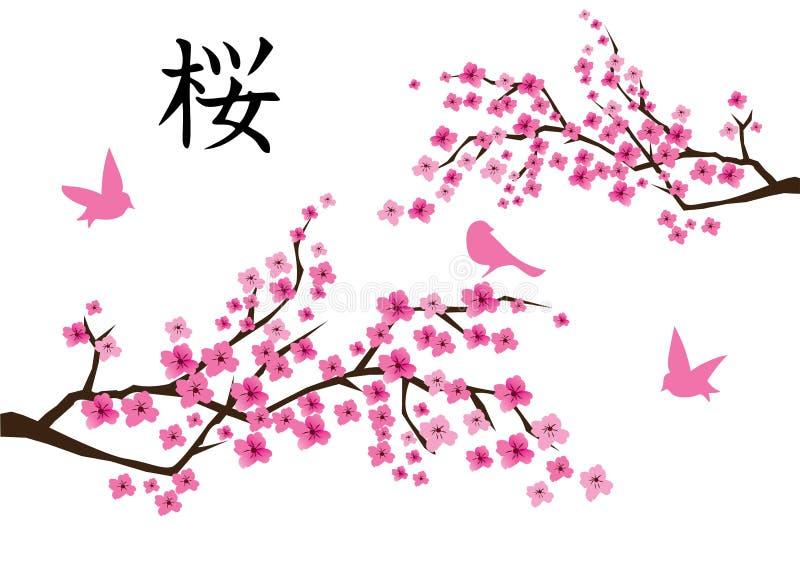 传染媒介樱花和桃红色鸟 库存例证