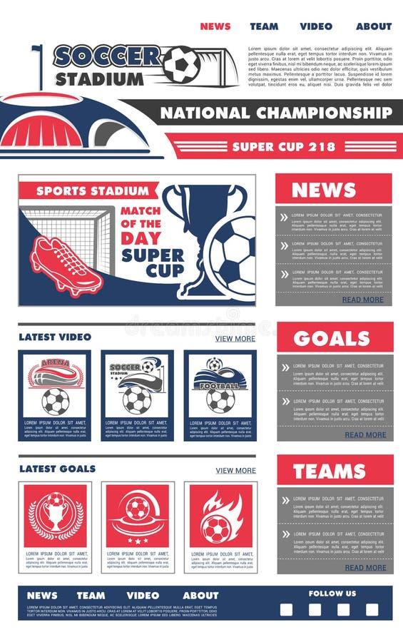 传染媒介橄榄球足球赛着陆页设计 库存例证