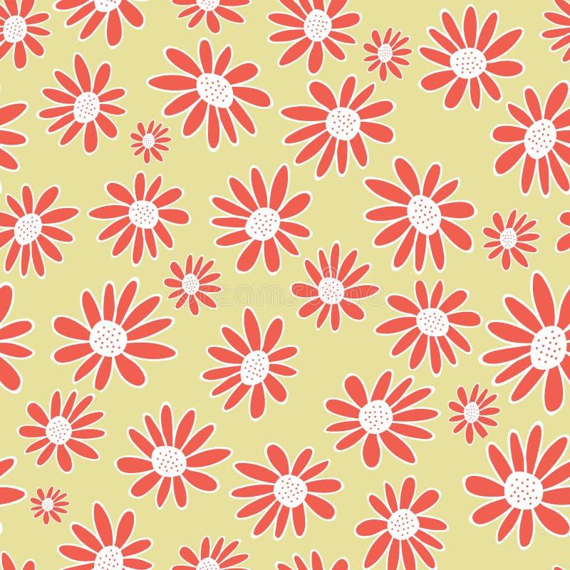 传染媒介橙色大丁草开花无缝的样式背景 在中立背景的雏菊 向量例证
