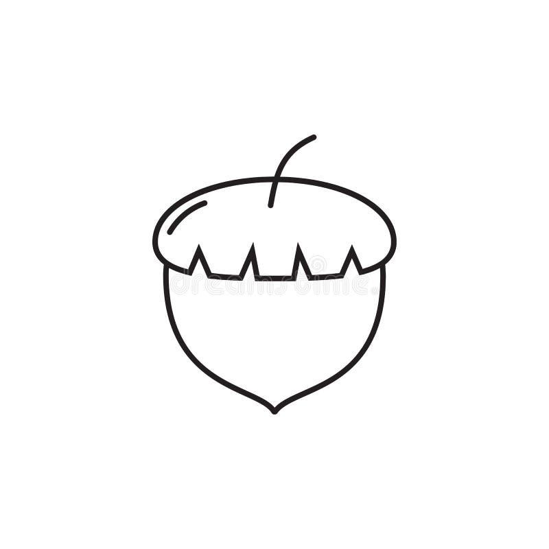 传染媒介橡子象 农厂果子元素 优质质量图形设计 标志,概述标志汇集,简单的稀薄的线象fo 库存例证