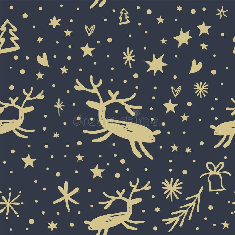 传染媒介欢乐样式,装饰品,墙纸,包装纸,在黑暗的背景的滑稽的鹿 库存例证