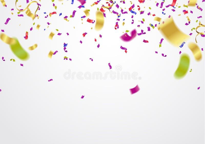 传染媒介欢乐气球背景和五颜六色的五彩纸屑 库存例证