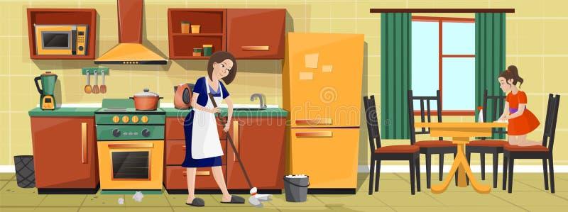 传染媒介母亲和女孩一起清洁厨房 皇族释放例证