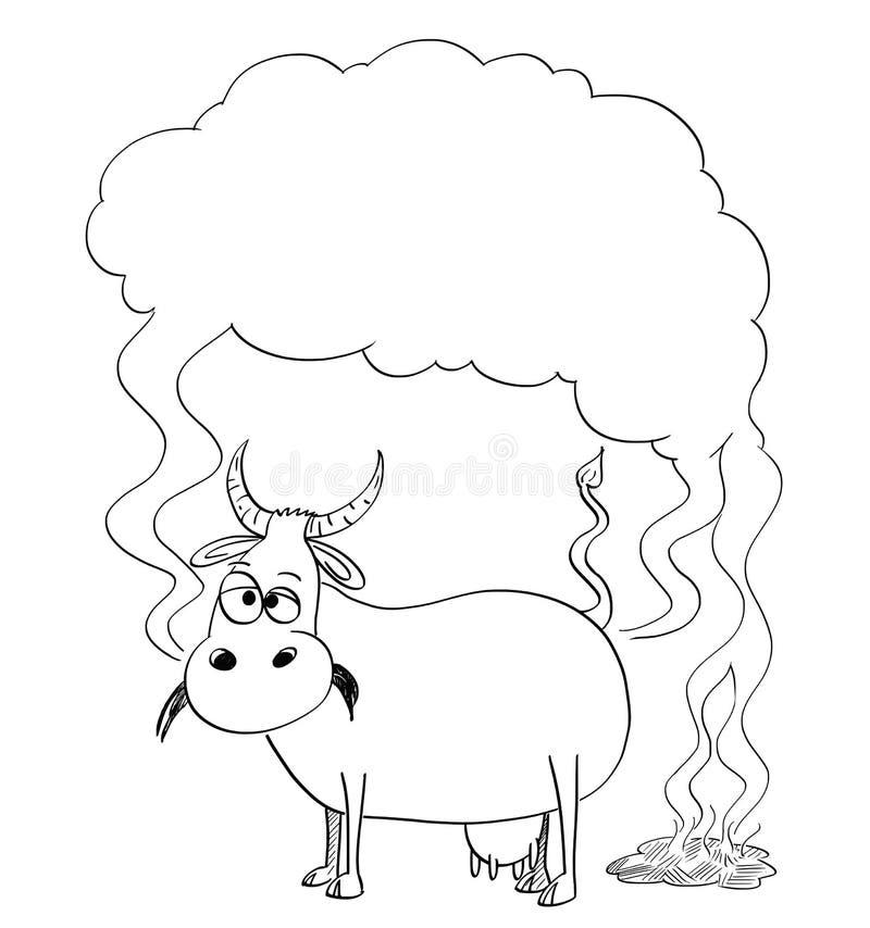 传染媒介母牛的黑白图画或例证生产甲烷 向量例证