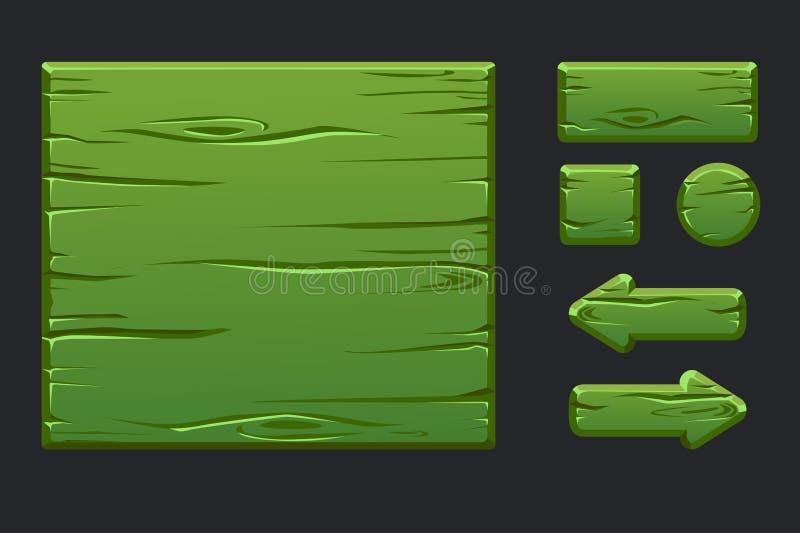 传染媒介比赛ui成套工具 图形用户界面GUI和按钮模板绿色木菜单建立第2场比赛的 皇族释放例证