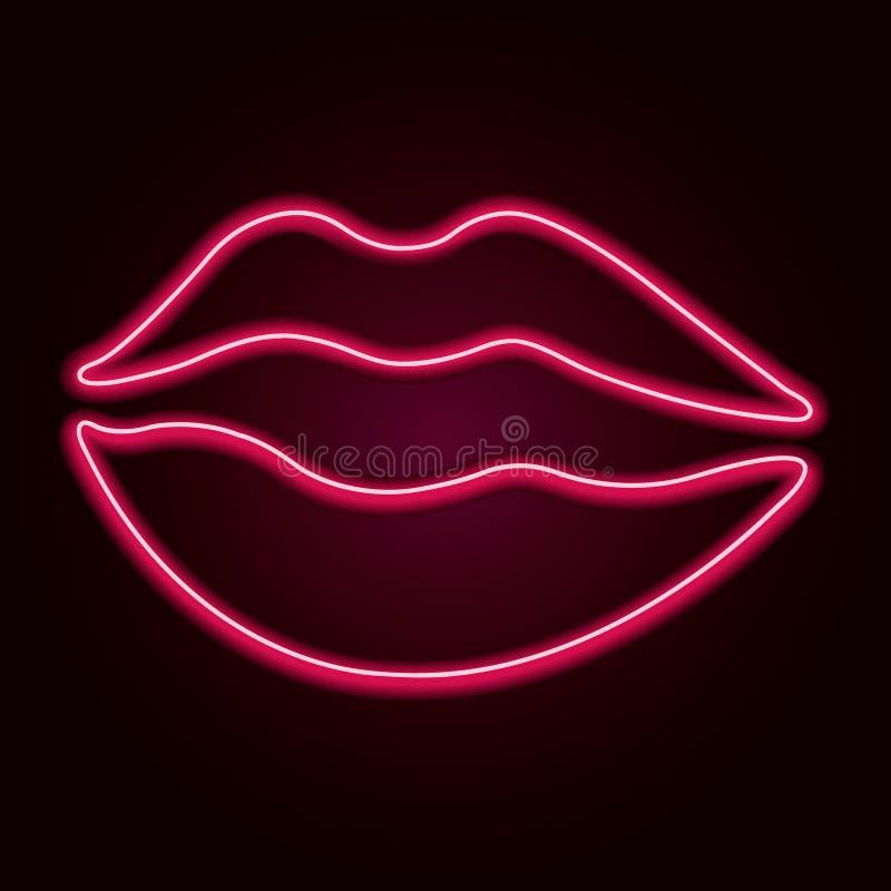 传染媒介氖嘴唇 库存例证