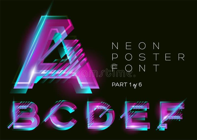 传染媒介氖字体 在黑暗的背景的发光的五颜六色的字母表 向量例证