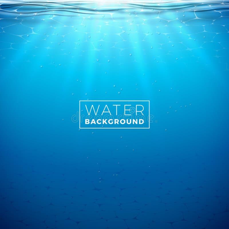 传染媒介水中蓝色海洋背景设计模板 与深海场面的夏天例证横幅的,飞行物 皇族释放例证