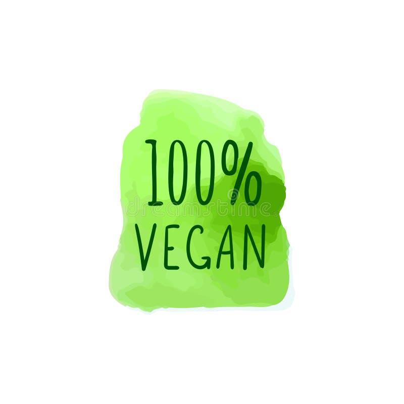 传染媒介水彩斑点和100百分之素食主义者字法,手拉的例证,绿色 向量例证