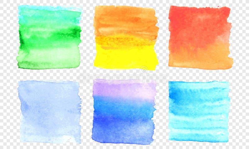 传染媒介水彩横幅集合 颜色水彩在透明背景的飞溅污点正方形污迹  向量例证