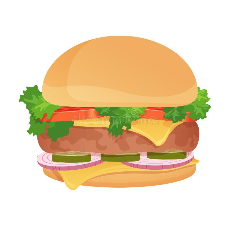 传染媒介汉堡包 经典汉堡 美国食物 快餐乳酪汉堡 库存例证