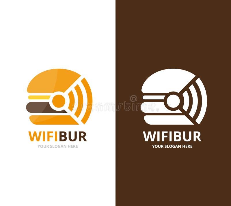 传染媒介汉堡和wifi商标组合 汉堡包和信号标志或者象图片