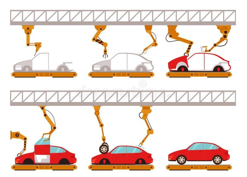 传染媒介汽车与机器人胳膊的装配线 皇族释放例证