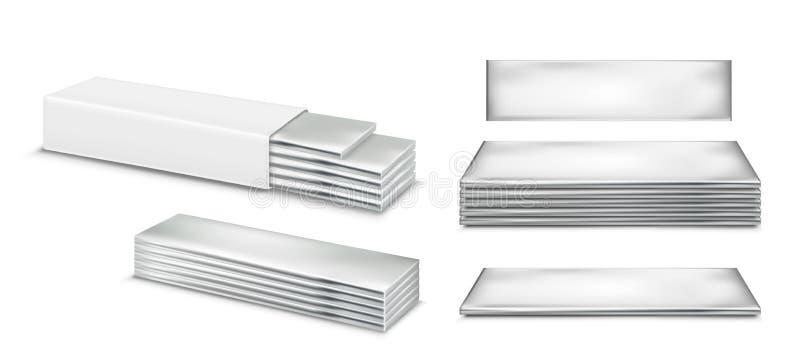 传染媒介泡泡糖和白色包装 库存例证
