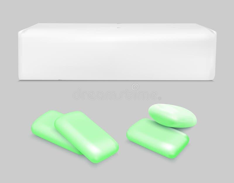 传染媒介泡泡糖和白色包装 向量例证