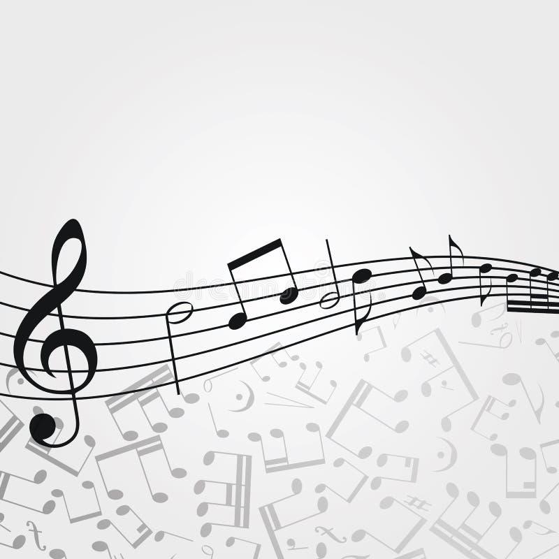 传染媒介波浪音乐背景:曲调,笔记,钥匙 皇族释放例证