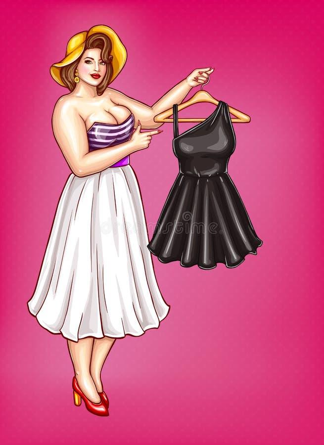 传染媒介流行艺术肥胖妇女拿着与礼服的挂衣架 库存例证