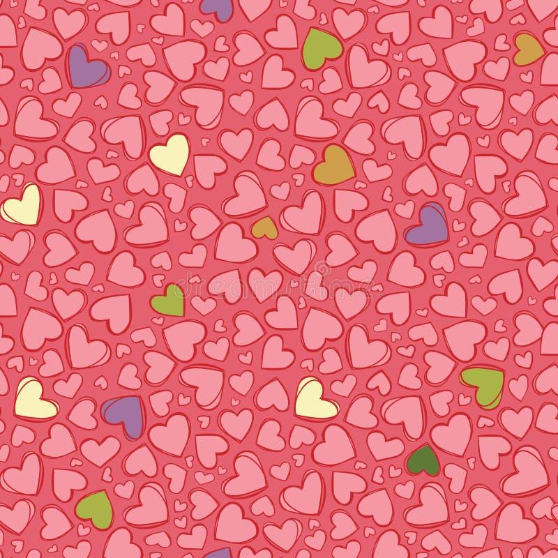 传染媒介浅红色的心脏重复样式 适用于缎带包装、纺织品和墙纸 向量例证