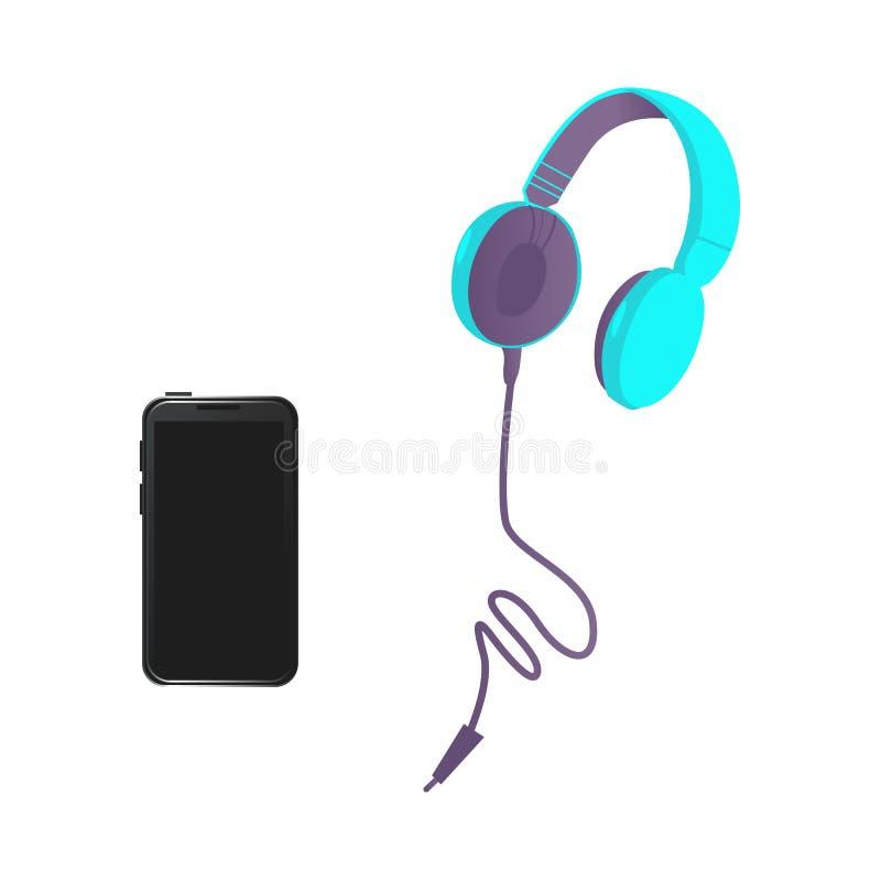 传染媒介浅黑现代智能手机,耳机 库存例证