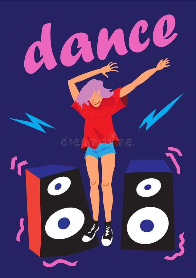 传染媒介海报无忧无虑的青年时期 跳舞女孩 音乐节的平的例证 库存例证