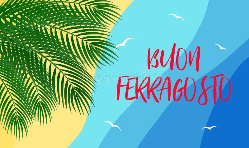 传染媒介海报概念Buon Ferragosto意大利传统威严的假日 皇族释放例证