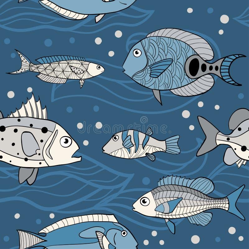 传染媒介海无缝的样式 库存例证