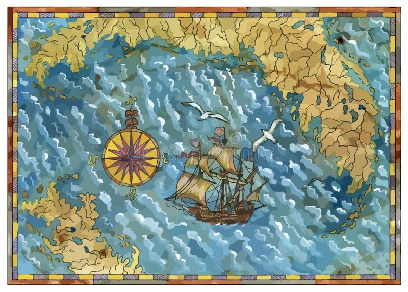 传染媒介海盗珍宝映射与老船、指南针、鸥和海岛 向量例证