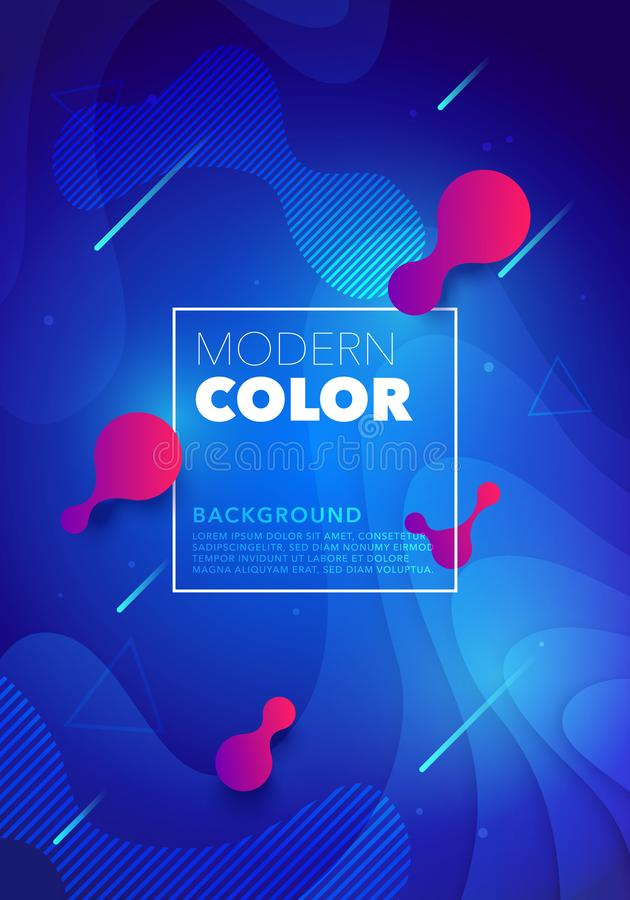 传染媒介液体颜色未来派设计海报背景 蓝色可变的梯度塑造飞行物的,横幅,网,盖子构成 皇族释放例证