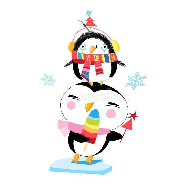 传染媒介滑稽的企鹅的圣诞节例证 向量例证