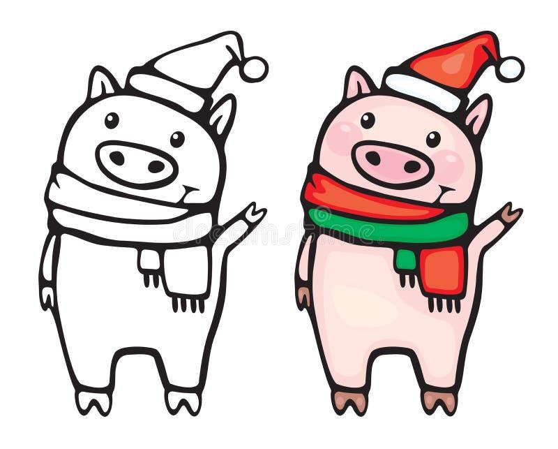 传染媒介滑稽的猪动画片 向量例证