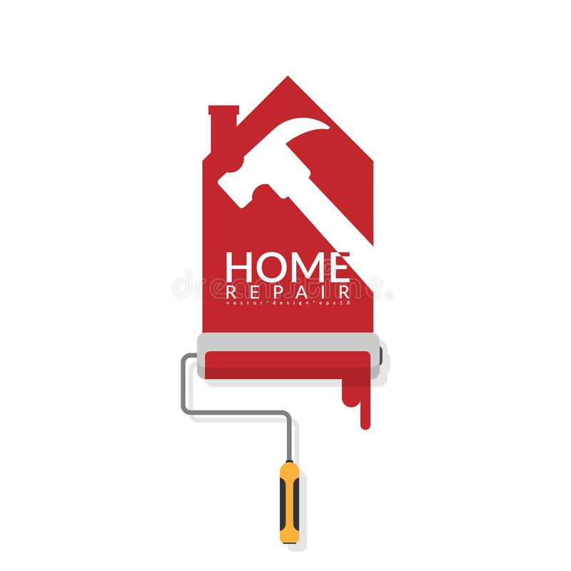 传染媒介漆滚筒绘的红色以图例解释者设计在白色墙壁上的在房子商标形状与锤子的白色阴影的与 库存例证
